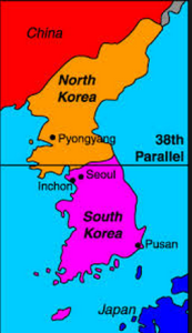 https://www.quora.com/What-is-the-significance-of-the-38th-parallel-in-Korea This map shows the 38th parallel where North and South Korea are divided.